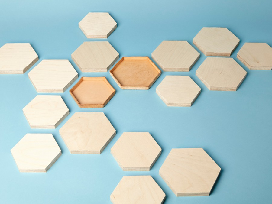 Make Your Own: Four Hexagonal Leather Molded Trays - an SMP CoLab Kit