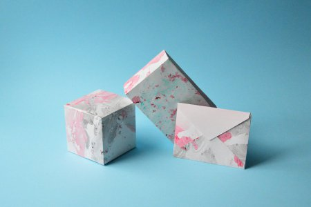 Marbled Paper Gift Boxes and Envelope
