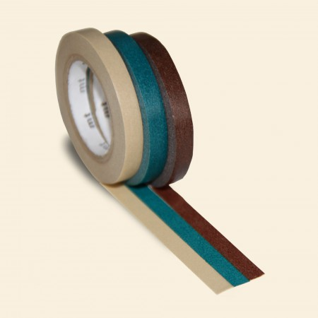 mt Washi Tape - Slim Roll Set of Three - Camel, Bottle Green, Chocolate