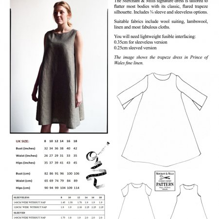 Merchant & Mills Women's Tissue Patterns - Trapeze Dress Multi-Size