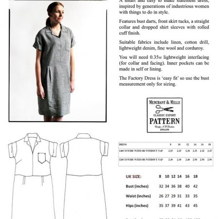 Merchant & Mills Women's Tissue Patterns - Factory Dress Multi-Size