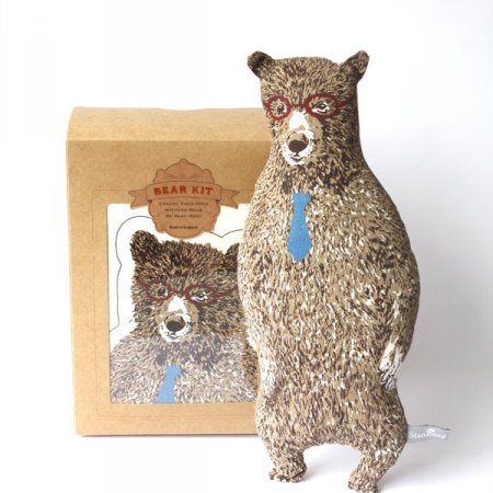Office Bear Kit with Glasses and Tie - Brown