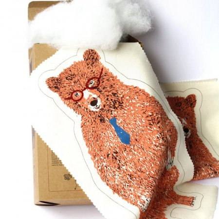 Office Bear Kit with Glasses and Tie - Pink