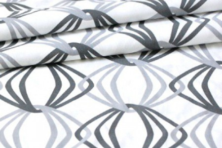 Organic Muslin Fabric in Grey Prints