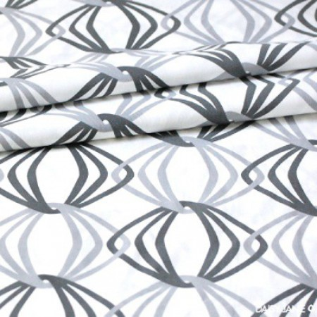 Organic Muslin Fabric in Grey Prints - Chain Link - 1/2 Yard