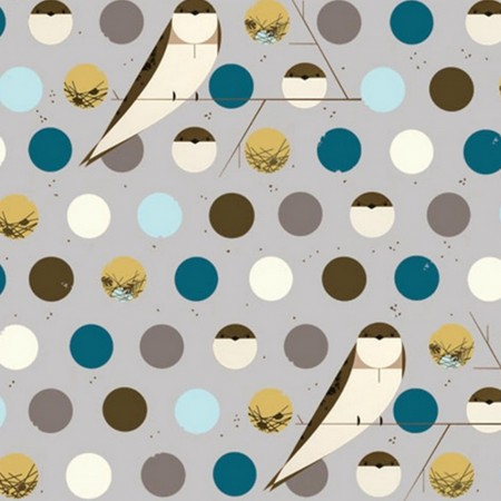 Charley Harper for Birch Organic Fabrics - Bank Swallow Blue - 1/4 Yard