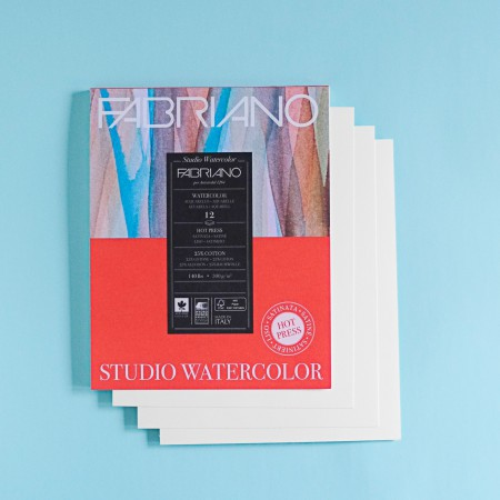 "Fabriano Hot Press Watercolor Paper - 4 sheets - 8"" x 10"""
