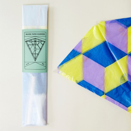 Waxed Paper Diamond Kite Kit - Blue, yellow, purple